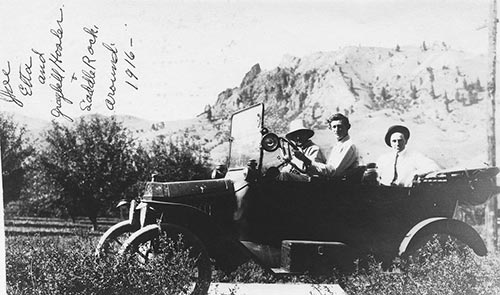 1916 photo of Owner's Grandfather on a drive